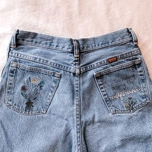 Custom pocket painted boyfriend jeans